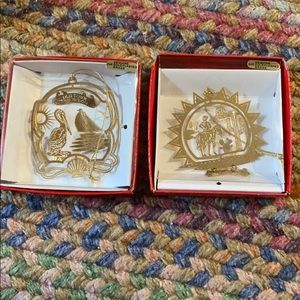Lot of 2 San Diego CA brass Christmas ornaments